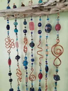 Driftwood and Glass Beaded Suncatcher - Wind chimes and Sun catchers Driftwood Crafts, Wire Crafts, Diy And Crafts, Driftwood Mobile, Beaded Crafts, Mobiles, Glass Bead Crafts, Glass Beads, Glass Art