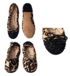 958564bbe 72.00 USD ❤ Sam Edelman Beatrix Leopard Calf Fur Spike Studded Cap Toe Ballet  Flats 6M