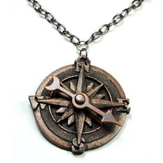 Steampunk Necklace Compass Necklace Spinning Pointer Compass Rose... ❤ liked on Polyvore featuring jewelry, copper jewelry, victorian jewelry, steam punk jewelry, rose jewelry and steampunk jewellery