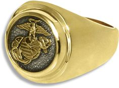 US Marine Corps Classic 10K Gold Ring  Celebrate a rewarding career in the US Military with a Personalized Military Ring 	#USNavy #Navy #USMilitary  http://www.us-military-rings.com