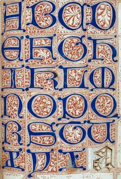 Page from Medieval Scribe's Artbook, sample alphabet:The Macclesfield Alphabet Book, England, British Library Medieval Manuscript, Medieval Art, Medieval Times, Renaissance Art, Illuminated Letters, Illuminated Manuscript, Map Mind, Book Of Kells, Calligraphy Letters