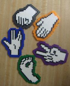 Rock, Paper, Scissors, Lizard, Spock - Big Bang Theory perler beads coasters by Geekapalooza