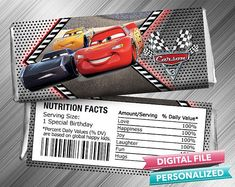 Cars 3 Candy Bar Wrapper