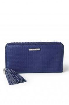 Stella & Dot Mercer Zip Wallet- Cobalt Basket Weave- Hostess Exclusive via www.stelladot.com/belladonna