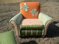 """These are called """"Happy Chairs"""" and I can see why. They are whimsical, fun, and fantastic. This is my goal as I get better at upholstery."""