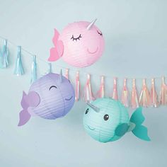 Hanging Decorations for Narwhal Party Mermaid Party Decorations, Mermaid Parties, Birthday Party Decorations, Mermaid Party Games, Girls Birthday Party Themes, Party Decoration Ideas, Hanging Decorations, Birthday Ideas, Unicorn Birthday Parties