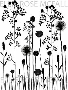 The design that I used for my tea towels that I sold to raise money for New Designers Tall Flowers, My Tea, Grasses, How To Raise Money, Stone Painting, Ceramic Pottery, Tea Towels, Silhouettes, Tatoos