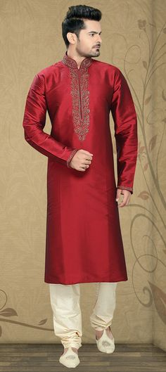 501879: Red and Maroon color family stitched Kurta Pyjamas .