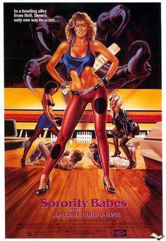 """Cartel anuncio """"Chicas de fraternidad en la bolera"""" 1988"""