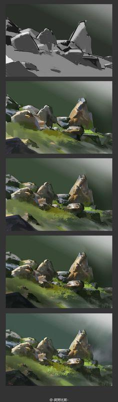 场景教程 绘画教程 山石原画