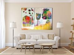 """GICLEE print, YELLOW figurative abstract painting with white and red, Modern painting """"When I close my eyes... I see"""" von MirnaSisul auf Etsy https://www.etsy.com/de/listing/181891949/giclee-print-yellow-figurative-abstract"""