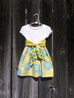 Toddler Spring dress with reversible tie.