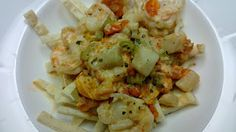 """Pasta"" with schrimp and scallop"