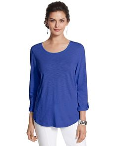 Chico's Revi Roll-Tab Tee in Majestic Blue #chicos