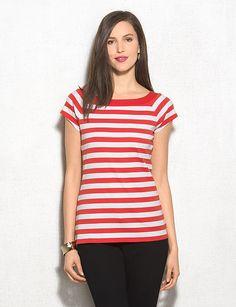 Striped Boat Neck Tee | dressbarn