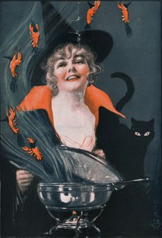 Halloween witch lithograph from Puck magazine. Puck ran from 1871 to 1918. She appears to be, for whatever reason, cooking lobster. Flying ghost lobsters. IDK. Maybe she's having a fancy dinner party.