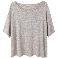 Acne Studios Wonder Tencel Tee (£66) ❤ liked on Polyvore featuring tops, t-shirts, shirts, tees, boat neck t shirt, oversized t shirts, heather grey shirt, short sleeve shirts and grey shirt