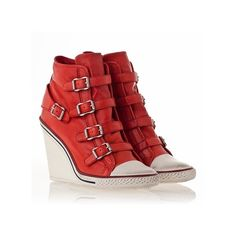 Women Sneakers Thelma Wedge Coral Waxed Nappa High-Top ❤ liked on Polyvore featuring shoes, sneakers, wedges, wedge high tops, wedges shoes, high top shoes, wedge hi tops and high top sneakers