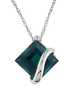 10K White Gold Created Emerald Pendant Necklace