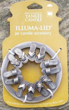 RARE 2007 Yankee Candle ILLUMA-LID Jar Topper FLIP FLOPS Summer Beach NEW HTF
