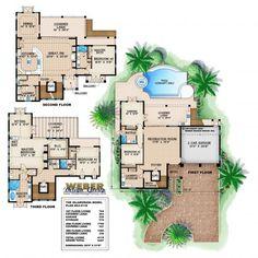 Islamorada Floor Plan   Narrow Lot House Plans by Weber Design Group