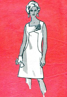 1960s Dress Pattern Mod Sleeveless Day Evening Princess Seam Dress Square Neck Mail Order Vintage Sewing Pattern Bust 43 Plus Size