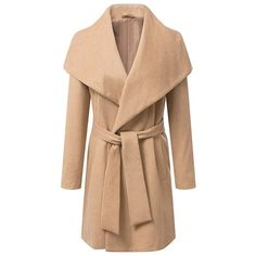 Elegant Turn-Down Collar Waistband Long Sleeve Long Sections Worsted Coat For Women, CAMEL, L in Jackets & Coats | DressLily.com