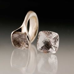 Tourmalinated Quartz Sterling Silver Fold Ring