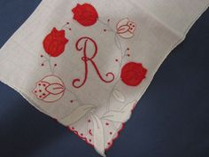 R MONOGRAM Red TULIPS Madeira Embroidery White by JEANIESPLACE, $9.99