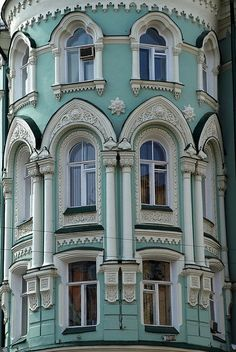 Love these windows, the Gothic look is awesomely contrasted with the pale blue, can't get enough! <3