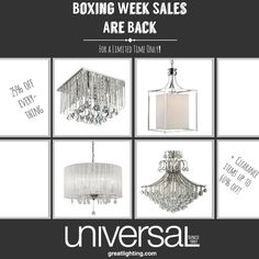 Boxing Week sales are back! Hurry in to save big! Boxing, Chandelier, Ceiling Lights, Ads, Home Decor, Homemade Home Decor, Candelabra, Ceiling Light Fixtures, Ceiling Lamp