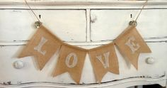 Love Applique Chevron Style Burlap Wedding Banner
