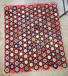 Antique Victorian Late 1800's Silk Quilt Star Honey Comb Very Intricate 99…