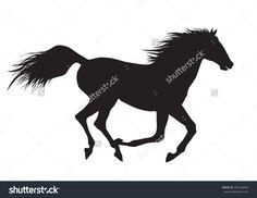 Vector Illustration Of Running Black Horse - 456188968 : Shutterstock