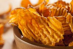 Substitute your old favorites. Try these Sweet Potato Chips at home and avoid their fatter relative!