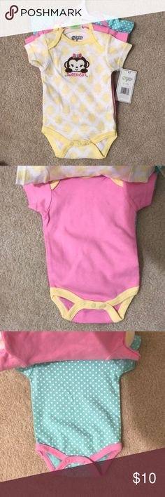 NWT pastel colored onesies, 0-3 months Very cute onesies! NWT, size 0-3 months.  Bundles save 15% One Pieces Bodysuits