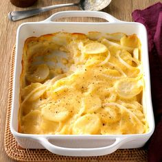 Never-Fail Scalloped Potatoes Recipe -Take the chill off any blustery day and make something special to accompany meaty entrees. These creamy homemade scalloped potatoes stick-to-the-ribs and are sure to be a favorite. —Agnes Ward, Stratford, Ontario