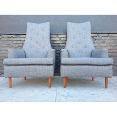 Gray Mid-Century High Back Chairs - A Pair