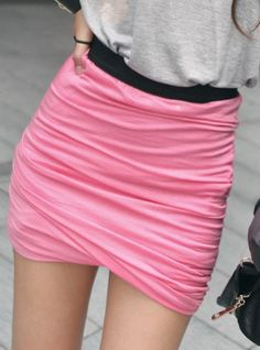Ruched skirt with contrast elasticated waistband