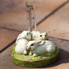 "Snuggling Rabbit Rain Gauge by Evergreen Enterprises, Inc. $10.95. A fun tool to track the weather. 5""L x 5""H. Accurate in centimeters and inches. A sweet addition to your garden. EG842133 Dimensions: -Dimensions: 5'' H x 5'' W x 5'' D.. Save 42%!"