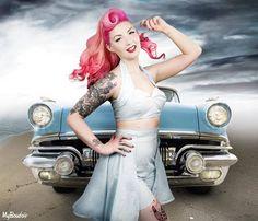 Pink rockabilly hair