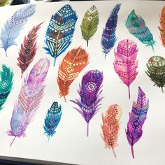 Watercolor feathers. I had fun painting the feathers and adding a little glitters in details. It might not be obvious in the pictures but…