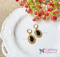 24K gold Earrings Gold Earrings, Drop Earrings, Handmade Art, Black Gold, Jewelry, Gold Stud Earrings, Jewlery, Jewerly, Schmuck