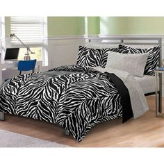 @Overstock.com - Zebra Black/White 7-piece Bed-in-a-Bag with Sheet Set - This seven-piece zebra-print bed-in-a-bag comes with everything you need to update your bedroom's look in elegant safari style, from a comforter to pillowcases. The comforter is made from ultra-soft microfiber to help you sleep in comfort.  http://www.overstock.com/Bedding-Bath/Zebra-Black-White-7-piece-Bed-in-a-Bag-with-Sheet-Set/6814002/product.html?CID=214117 $39.99