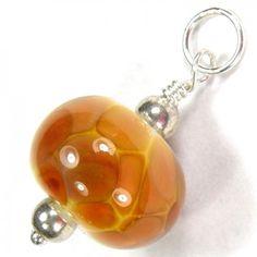 Art Glass Pendant Butterscotch Lampwork Glass Bead Sterling Silver | Covergirlbeads - Jewelry on ArtFire