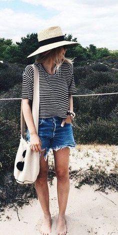 summer fashion stripes denim shorts