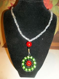 Wire Crochet necklace with Christmas beads and Pendant | HiddenHummingbirdDesigns - Jewelry on ArtFire