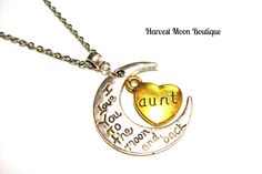 New to AngiePinkal on Etsy: I Love You to the Moon and Back Pendant Silver Necklace Crescent Moon Gold Heart Gift Aunt Handmade Angie Pinkal Stocking Stuffer Yule (18.00 USD)