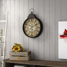 Wood And Metal, Metal Walls, Brown Clocks, Cottage Style Living Room, Tabletop Clocks, Layout, How To Distress Wood, Graphic, Rustic Style