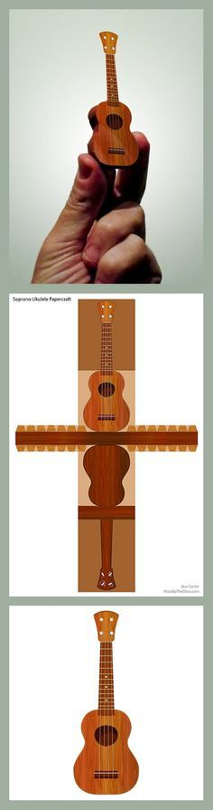 DIY paper craft MINI soprano ukulele.  Download Papercraft Soprano Ukulele (PDF)  Papercraft Soprano Ukulele  You may also download the big image from my Flickr Stream.  In under ten minutes you can have your very own uke! Great for Christmas tree trimming, package wrapping, or just to collect dust. All ya need is scissors and glue. A skewer or coffee stirrer, glue stick, and X-acto knife are also helpful, but not needed.